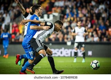 VALENCIA, SPAIN - APRIL 18: (L) Molina, Murillo during Spanish La Liga match between Valencia CF and Getafe CF at Mestalla Stadium on April 18, 2018 in Valencia, Spain