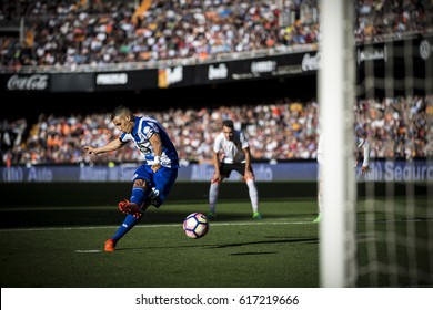 VALENCIA, SPAIN - APRIL 2: Faycal Fajr during La Liga match between Valencia CF and Deportivo at Mestalla Stadium on April 2, 2017 in Valencia, Spain