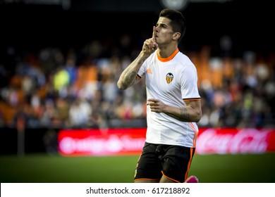 VALENCIA, SPAIN - APRIL 2: Joao Cancelo celebrates a goal during La Liga match between Valencia CF and Deportivo at Mestalla Stadium on April 2, 2017 in Valencia, Spain