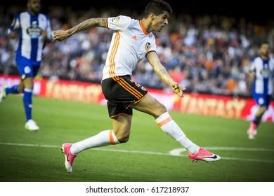 VALENCIA, SPAIN - APRIL 2: Joao Cancelo during La Liga match between Valencia CF and Deportivo at Mestalla Stadium on April 2, 2017 in Valencia, Spain
