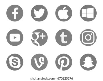 Valencia, Spain - April 21, 2017: Collection of popular social media logos printed on paper: Facebook,Twitter, Apple,Windows,Tumblr, Vine, Snapchat, Pinterest, Youtube, Instagram, Skype, Google Plus.