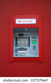 Valencia, Spain; April 22 2019:  ATM of Banco Santander, Banco Santander is one of the most important banks in the world