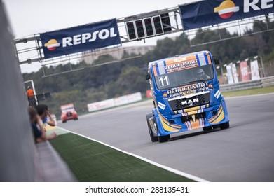 VALENCIA, SPAIN - April 25: Eduardo Rodrigues during 2015 FIA European Truck Racing Championship at Ricardo Tormo Circuit on April 25, 2015 in Valencia, Spain