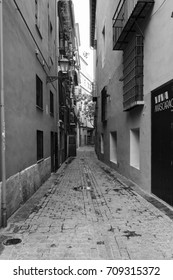Valencia, Spain - April 27, 2017: Typical street of the center of old town of Valencia