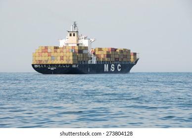VALENCIA, SPAIN - April 5, 2007: MSC MARTINA container ship off the coast of Valencia