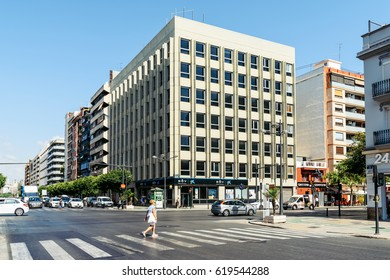 VALENCIA, SPAIN - AUGUST 01, 2016: People Walking Downtown Valencia City In Spain.
