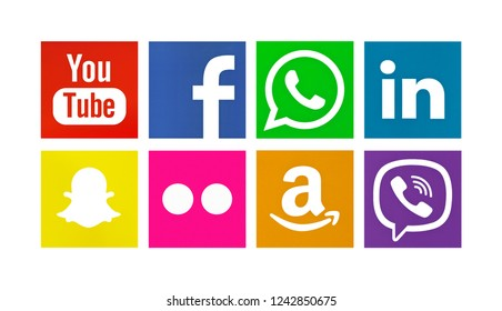 Valencia, Spain - August 01, 2017: Collection of popular social media logos printed on paper: YouTube, Facebook, WhatsApp, LInkedin, Snapchat, Flickr, Amazon, Viber.