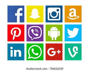 Valencia, Spain - August 01, 2017: Collection of popular social media logos printed on paper: Facebook,  Pinterest, Instagram, Linkedin, Android, Viine, Amazon, Twitter,  WhatsApp, Snapchat, Viber .