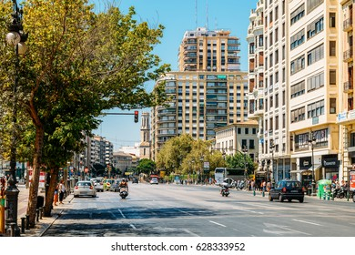 VALENCIA, SPAIN - AUGUST 02, 2016: Everyday Life In Busy Downtown Valencia City Of Spain.