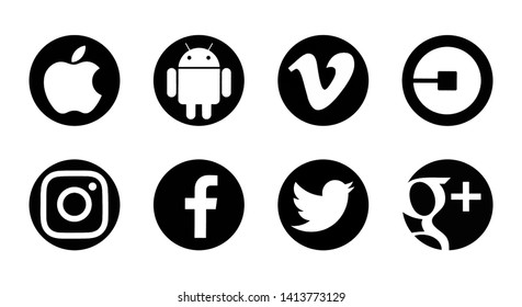 Valencia, Spain - August  02, 2018: Collection of popular social media logos printed on paper: Facebook, Instagram,  Apple, Twitter,  Android, Vimeo, Uber,  Google Pllus.
