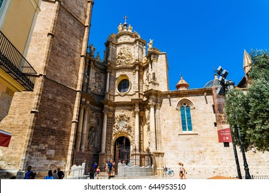 VALENCIA, SPAIN - AUGUST 03, 2016: Metropolitan Cathedral Basilica of the Assumption of Our Lady of Valencia (Saint Mary's Cathedral or Valencia Cathedral) is a Roman Catholic church in Valencia.