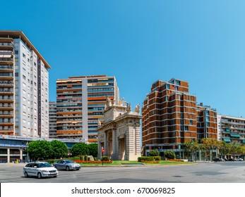 VALENCIA, SPAIN - AUGUST 06, 2016: Plaza de la Puerta del Mar (Gate of the Sea Square) In Downtown Valencia City In Spain.