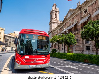 VALENCIA, SPAIN - AUGUST 26, 2018. Bus number 5 of the municipal transit company of Valencia EMT stopped at the Piazza Tetuan stop in a summer day .
