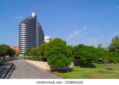 VALENCIA, SPAIN - AUGUST 29, 2018: Sunny landscape in Parc de Capcalera (Headquarter Park), located at western side of Valencia city.