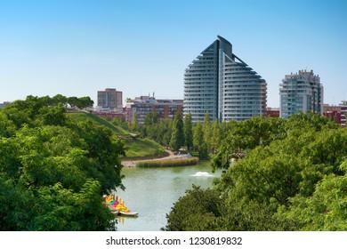 VALENCIA, SPAIN - AUGUST 29, 2018: Sunny landscape of Parc de Capcalera (Headquarter Park), located at western side of Valencia city.