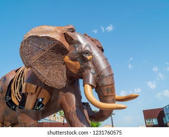 VALENCIA, SPAIN - AUGUST 29, 2018: Big sculpture of elephant, made of iron and wood, designed by Fernando Gonzalez Sitges for 10th anniversary of Bioparc Valencia and installed at entrance.