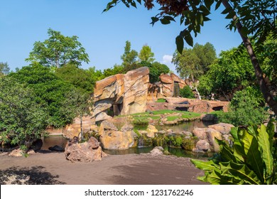 VALENCIA, SPAIN - AUGUST 29, 2018: Landscape in Bioparc Valencia, opened in 2008 as zoo with naturalistic habitats for animals via reproducing various eco-systems of the world.