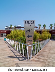 VALENCIA, SPAIN - AUGUST 29, 2018: Exit path from Bioparc Valencia, opened in 2008 as zoo with naturalistic habitats for animals via reproducing various eco-systems of the world.