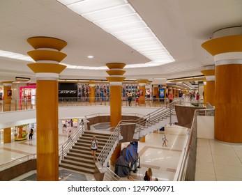 VALENCIA, SPAIN - AUGUST 29, 2018: Interior of Nuevo Centro (New Center) mall, opened in 1982 close to northern edge of historic center of Valencia city.