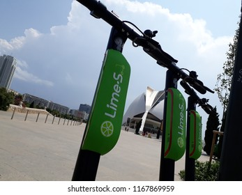 Valencia, Spain - August 30, 2018: New Lime electric scooter rental company, to improve sustainable mobility in the city.