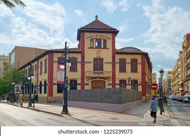 VALENCIA, SPAIN - AUGUST 30, 2018: Frontal view of building of Escuela de Artesanos (School of Artisans), founded in 1868 in Valencia.