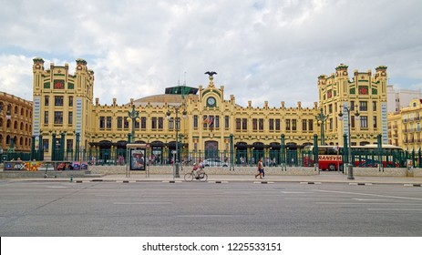 VALENCIA, SPAIN - AUGUST 30, 2018: Estacio del Nord (The North Station) is the main railway station in Valencia, built in 1917 in Art Nouveau architectural style close to the city center.