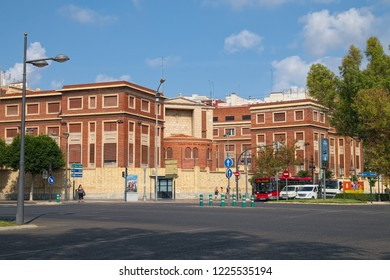 VALENCIA, SPAIN - AUGUST 30, 2018: Building of Colegio Nuestra Senora de Loreto (Religious School), designed by architect Luis Albert Ballesteros and completed in 1953. View to eastern side.