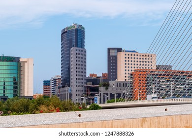 VALENCIA, SPAIN - AUGUST 30, 2018: Urban landscape with tall buildings of modern architecture in Camins al Grau district of Valencia city.
