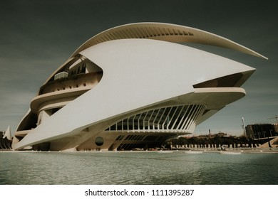 VALENCIA, SPAIN- CIRCA DECEMBER 2017 Queen Sofía Palace of the Arts in Valencia, at sunlight on december in Spain