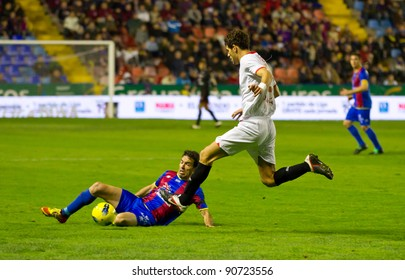 VALENCIA, SPAIN - DECEMBER 10: Federico Fazio (Sevilla FC player) in action during the Spanish league match between Levante FC and Sevilla, final score 1 - 0, on December 10, 2011, in Valencia, Spain