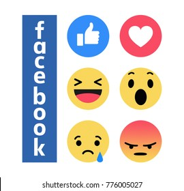 Valencia, Spain - December 14, 2017:  New  Facebook  button Empathetic Emoji reactions printed on paper. Facebook is a known social networking service.