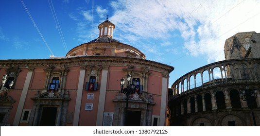 VALENCIA, SPAIN - December 20, 2018: Panorama view of Plaza de la Virgen is a perfect spot attractions. One of the square's depicting Neptune surrounded by eight naked women.