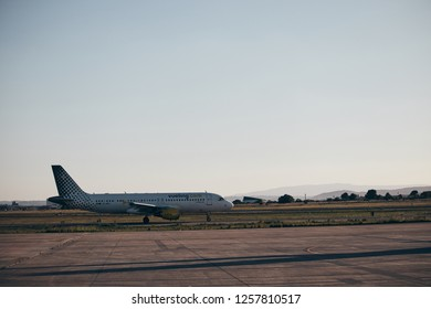 VALENCIA, SPAIN - DECEMBER 2018 - passenger plane of the company vueling taking off from the airport of valencia