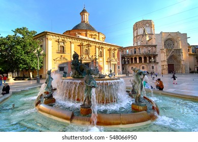 Valencia, Spain - December 25, 2016: Valencia Spain Square of Saint Mary's Architecture at Sunrise.