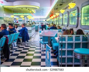 Valencia, Spain - December 3 , 2016: Tommy Mel's restaurant interior, classic dinner