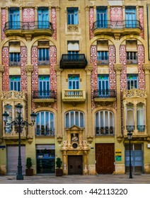 VALENCIA, SPAIN, DECEMBER 30, 2015: view of a beautiful facade of an ancient house situated in the historical center of spanish city valencia