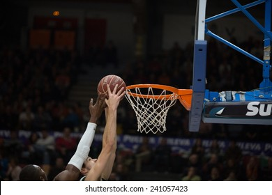 VALENCIA, SPAIN - DECEMBER 30: Various players during Spanish League match between Valencia Basket Club and Juventut at Fonteta Stadium on December 30, 2014 in Valencia, Spain