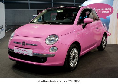 VALENCIA, SPAIN - DECEMBER 4: A 2009 Fiat 500 Pink Car at the 2009 Valencia Car Show on December 4, 2009 in Valencia, Spain.