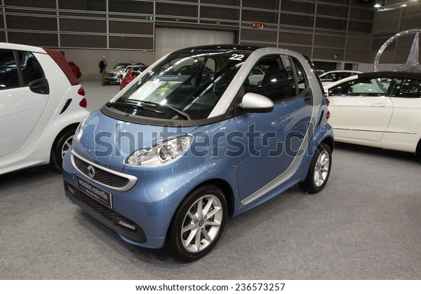 VALENCIA, SPAIN - DECEMBER 4, 2014: A 2014 Mercedes Benz Smart Fortwo Car at the Valencia Automovil 2014 Car Show. The Smart Car comes in two models, a gasoline engine and an electric engine model.