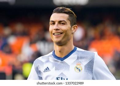 VALENCIA, SPAIN - FEB 22: Cristiano Ronaldo plays at the La Liga match between Valencia CF and Real Madrid at Mestalla on February 22, 2017 in Valencia, Spain.