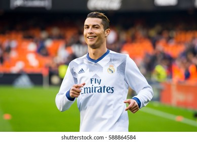 VALENCIA, SPAIN - FEB 22: Cristiano Ronaldo plays at the La Liga match between Valencia CF and Real Madrid at Mestalla on February 22, 2017 in Valencia, Spain.