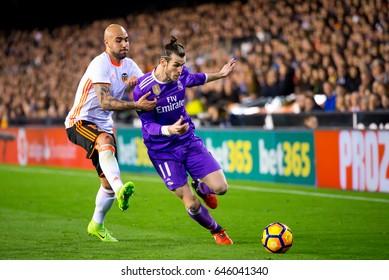 VALENCIA, SPAIN - FEB 22: Gareth Bale plays at the La Liga match between Valencia CF and Real Madrid at Mestalla on February 22, 2017 in Valencia, Spain.