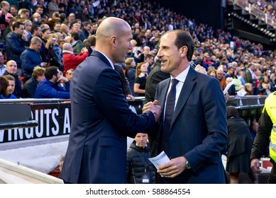 VALENCIA, SPAIN - FEB 22: Zidane (l) and Voro (r) salute at the La Liga match between Valencia CF and Real Madrid at Mestalla on February 22, 2017 in Valencia, Spain.