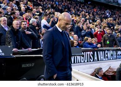 VALENCIA, SPAIN - FEB 22: Zinedine Zidane at the La Liga match between Valencia CF and Real Madrid at Mestalla on February 22, 2017 in Valencia, Spain.