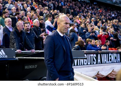 VALENCIA, SPAIN - FEB 22: Zinedine Zidane at the La Liga match between Valencia CF and Real Madrid at Mestalla on February 22, 2017 in Valencia, Spain.
