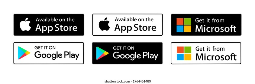 Valencia, Spain - February 04, 2021:  Buttons Get it on Google Play, Available on the App Store, Get it from Microsoft,  printed on paper.
