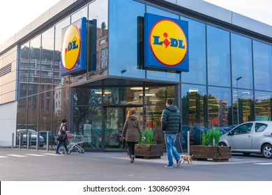 Valencia, Spain - February 09, 2019: Lidl store in Valencia city. German global discount supermarket chain.