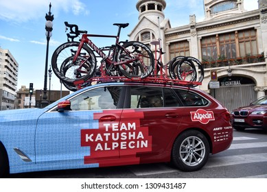 valencia, spain - February 10, 2019: Car of the cycling team Katusha Alpecin passing by the Central Market during the development of the last stage of the Volta Ciclista to Valencia 2019.