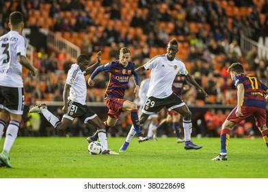 VALENCIA, SPAIN - FEBRUARY 10: Camara, Diallo, Zahibo during Spanish Cup Semifinal match between Valencia C.F. and FC Barcelona at Mestalla Stadium on February 10, 2015 in Valencia, Spain