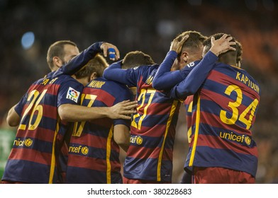 VALENCIA, SPAIN - FEBRUARY 10:  during Spanish Cup Semifinal match between Valencia C.F. and FC Barcelona at Mestalla Stadium on February 10, 2015 in Valencia, Spain